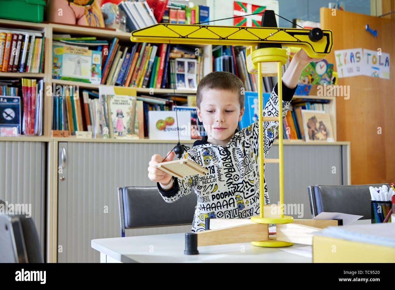 Boy in the classroom of studies and games, Plant for hospitalization of children, Pediatrics, Medical care, Hospital Donostia, San Sebastian, Stock Photo