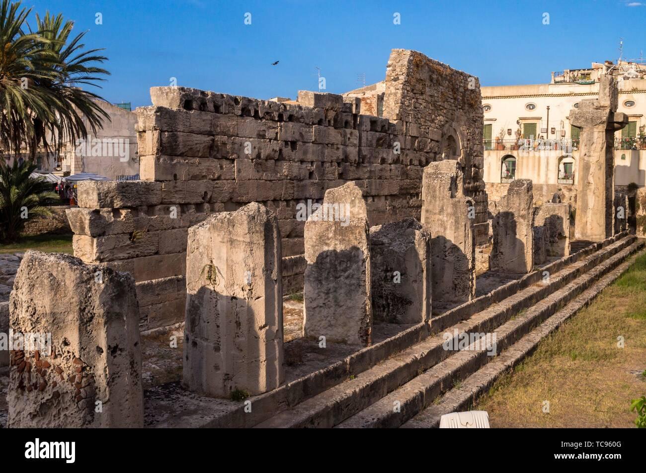 Temple of Apollo, Syracuse, Sicily, Italy. - Stock Image