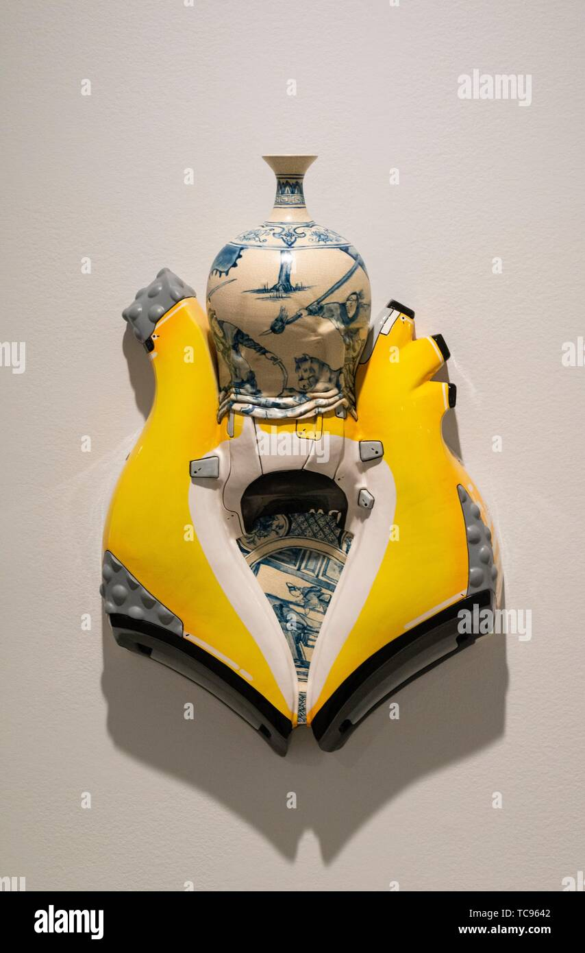 sculpture, Manga Ormolu 5. 0j, 2010, by artist Brendan Tang. At the Vancouver Art Gallery, Vancouver, BC, Canada. - Stock Image