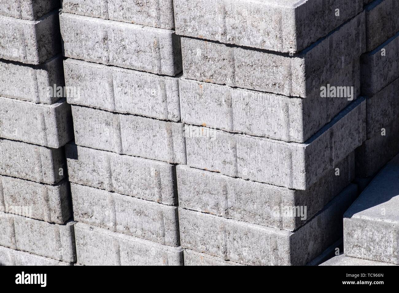 Piles of building material in the forest of Sweden. - Stock Image