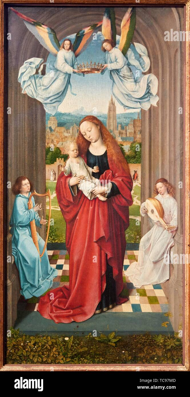 '''The Virgin and the Child between Angels'', 1500, Master of the André Madonna, Thyssen Bornemisza Museum, Madrid, Spain, Europe - Stock Image