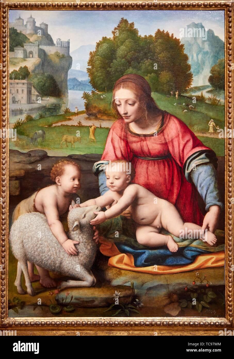 '''The Virgin and Child with the infant Saint John the Baptist'', 1523-1525, Bernardo Luini, Thyssen Bornemisza Museum, Madrid, Spain , Europe - Stock Image