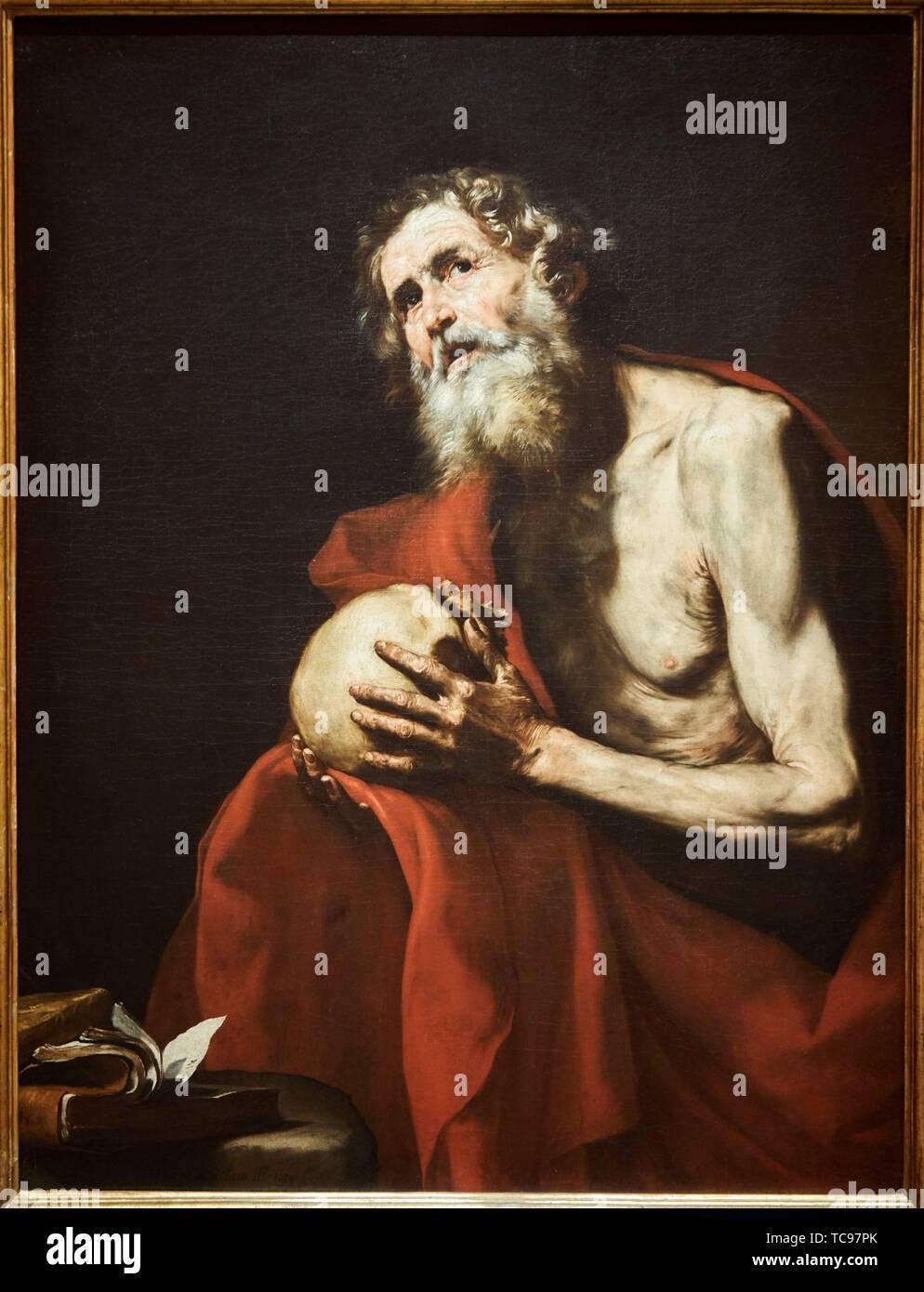 '''Saint Jerome in Penitence'', 1634, José de Ribera, Thyssen Bornemisza Museum, Madrid, Spain, Europe - Stock Image
