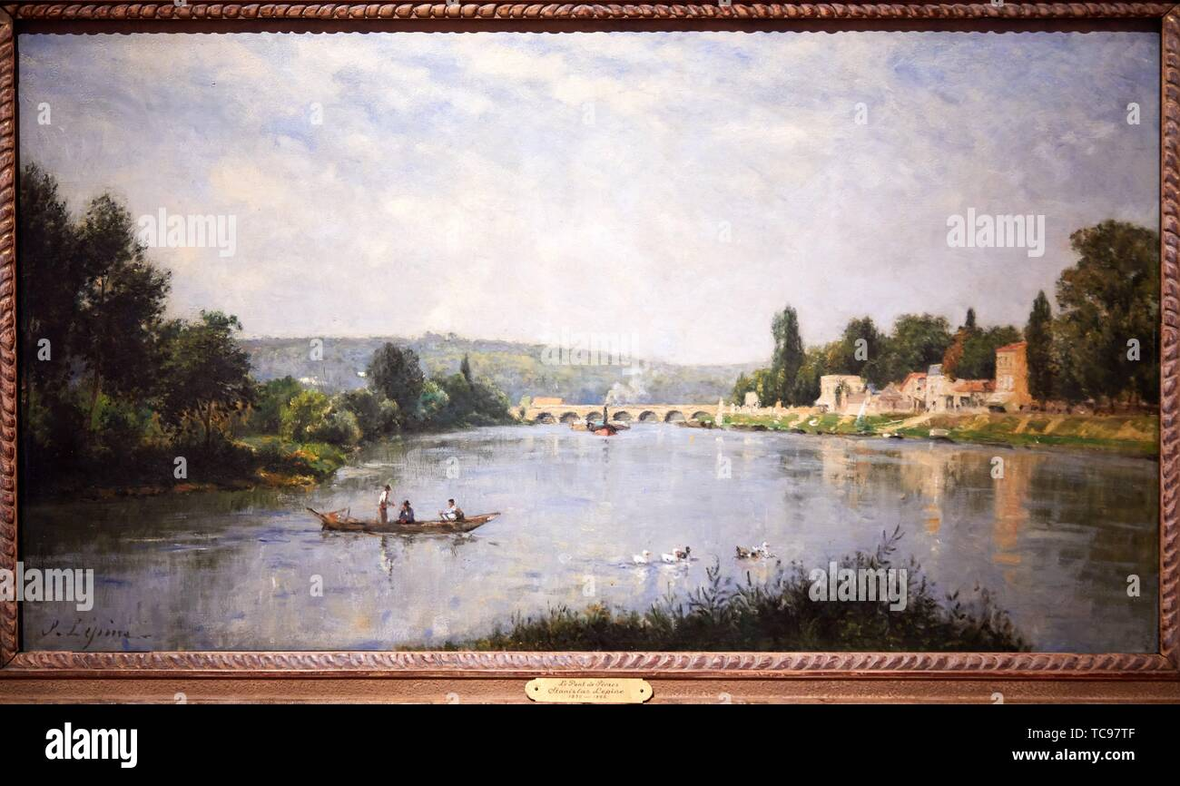 '''The Seine at the Point de Sèvres'', 1876-1880, Stanislas Lépine, Thyssen Bornemisza Museum, Madrid, Spain, Europe - Stock Image
