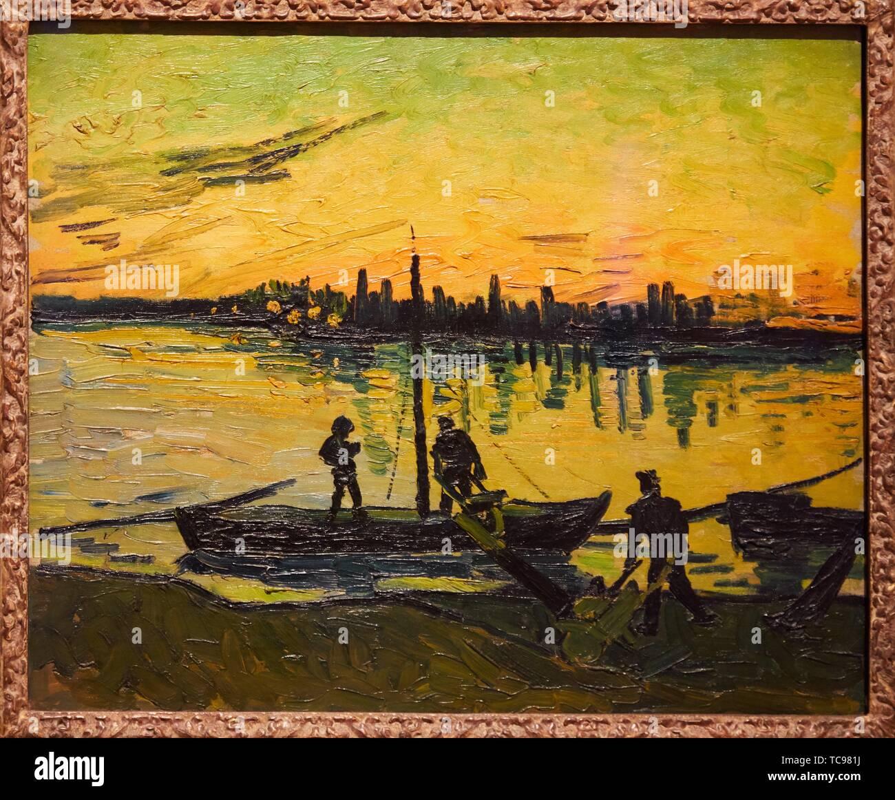 '''The Stevedores in Arles'', 1888, Vincent van Gogh, Thyssen Bornemisza Museum, Madrid, Spain , Europe - Stock Image