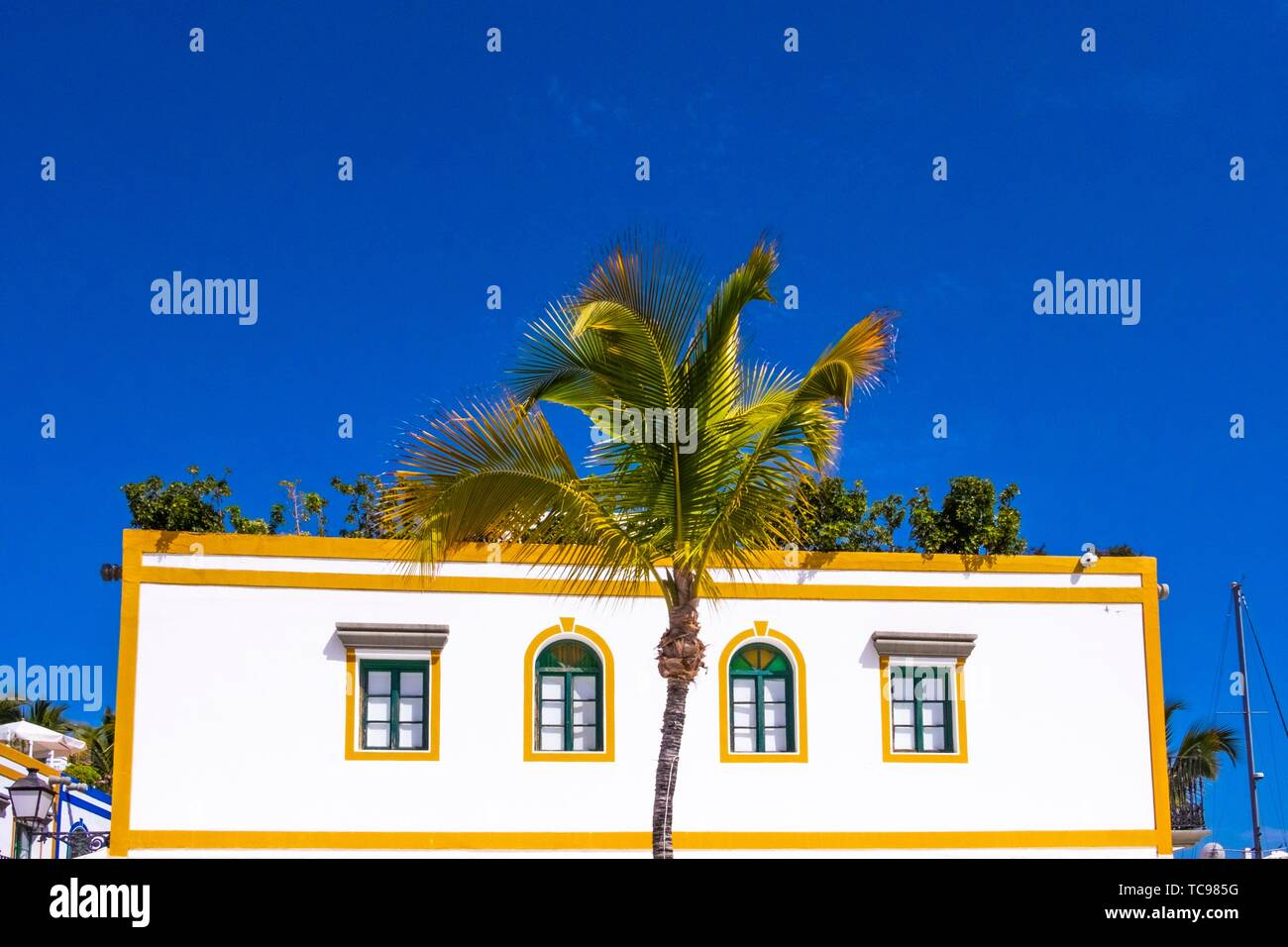 White house in Mogan, Gran Canaria, Canary Islands. Stock Photo