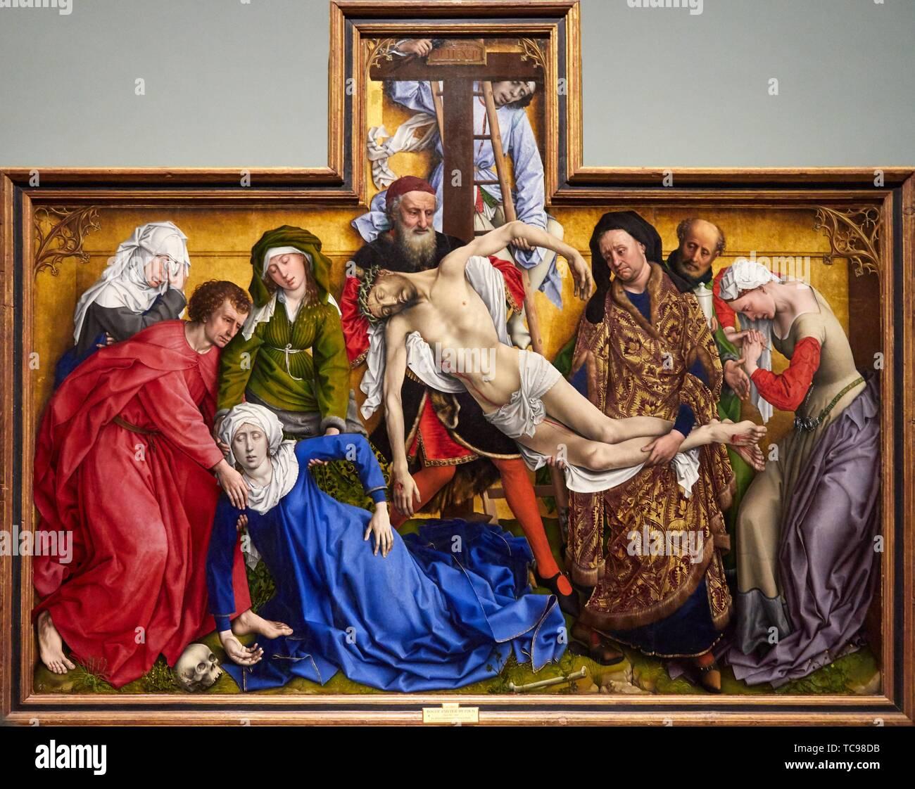 '''The Descent from the Cross'', 1443, Rogier Van Der Weyden, Prado Museum, Madrid, Spain, Europe - Stock Image
