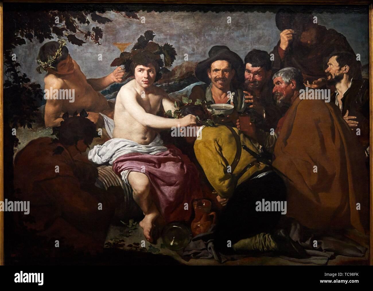 """""""The Feast of Bacchus"""", 1628-1629, Diego Rodriguez de Silva y Velázquez, Prado Museum, Madrid, Spain, Europe Stock Photo"