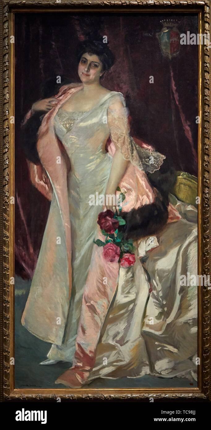 '''Mercedes Mendeville, Countess of San Félix'', 1906, Joaquin Sorolla, Prado Museum, Madrid, Spain, Europe - Stock Image