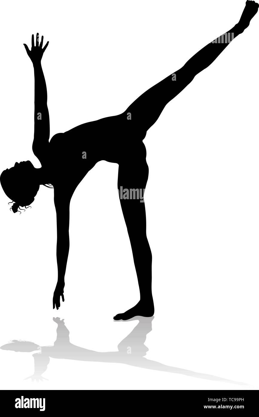 Yoga Pilates Pose Woman Silhouette - Stock Image