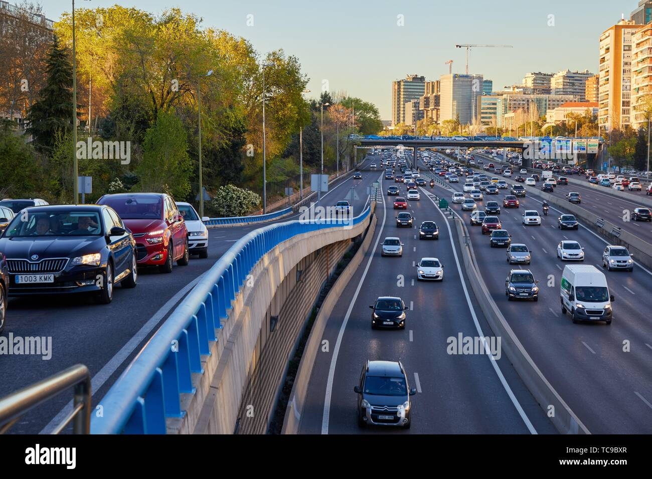 Traffic, M-30 motorway, Las Ventas Bridge, Madrid, Spain, Europe - Stock Image