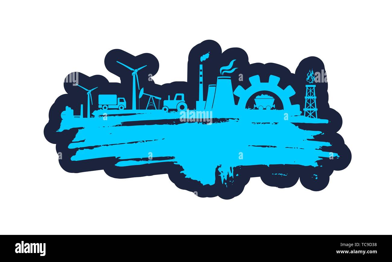 Energy and Power icons set and grunge brush stroke. Energy generation and heavy industry relative image. Agriculture and transportation. - Stock Image