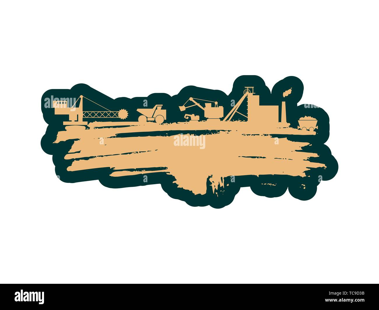 Energy and Power icons set and grunge brush stroke. Energy generation and heavy industry relative image. - Stock Image