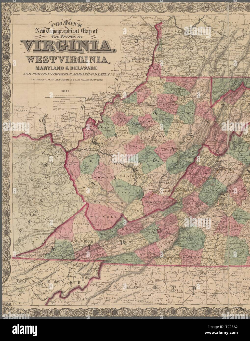 Picture of: Colton S New Topographical Map Of The States Of Virginia West Virginia Maryland Delaware And Portions Of Other Adjoining States G W C B Stock Photo Alamy