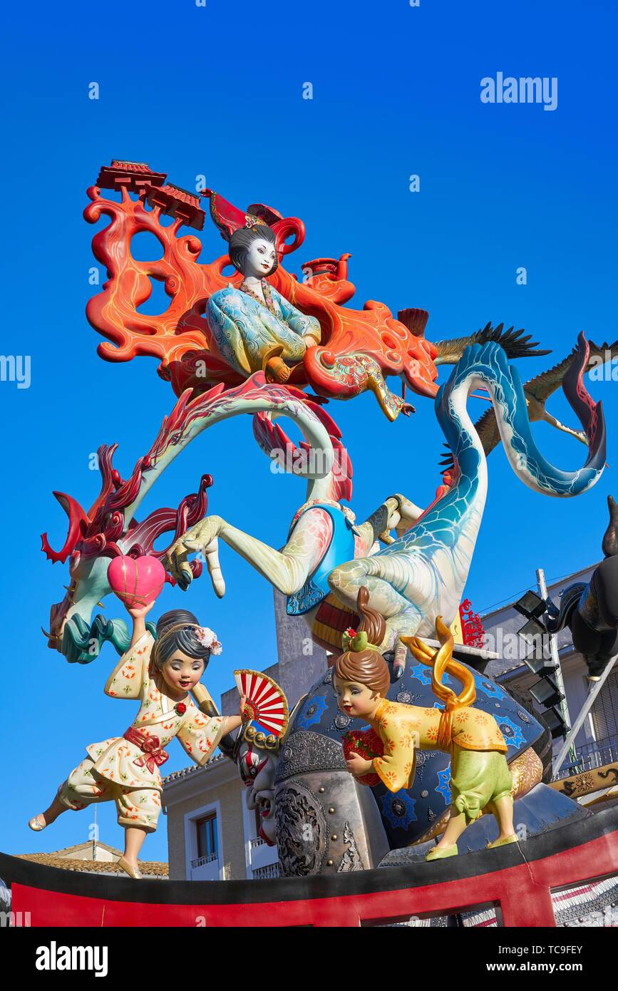 Las fallas fest figures of marche paper in Valencia of spain. - Stock Image