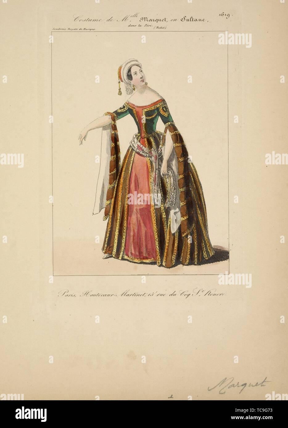 Costume de Melle. Marquet, en Sultane, dans La péri, ballet, Académie royale de musique. Additional title: Petite galerie dramatique ; 1619 - Stock Image