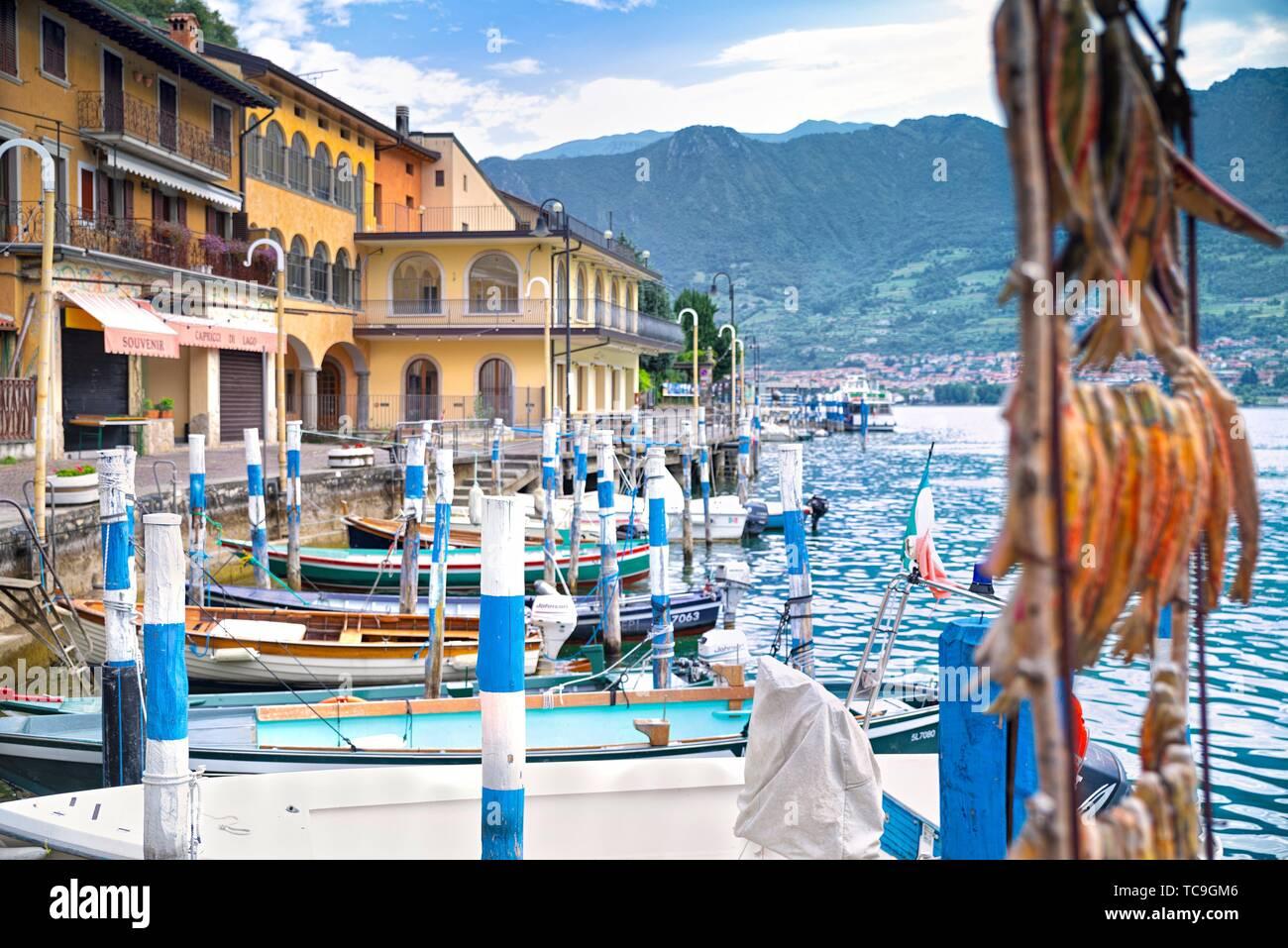 Monte Isola, Sensole village. - Stock Image