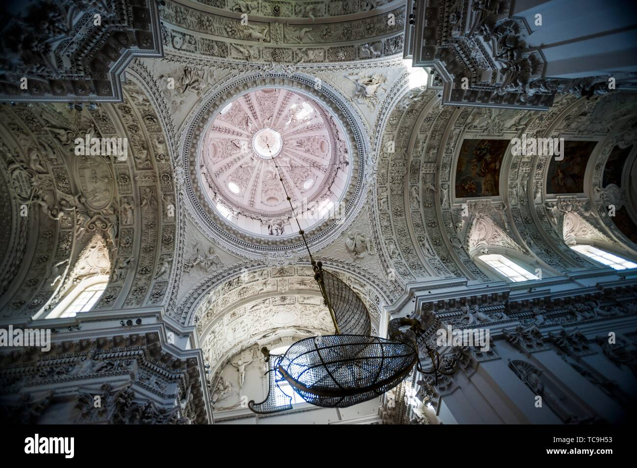Boat-shaped chandelier. Interior of Church of St. Peter and St. Paul. Antakalnis District, Vilnius, Lithuania, Baltic States, Europe. - Stock Image