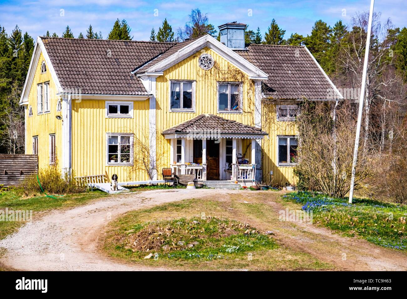 Old villa in the countryside of Sweden. - Stock Image