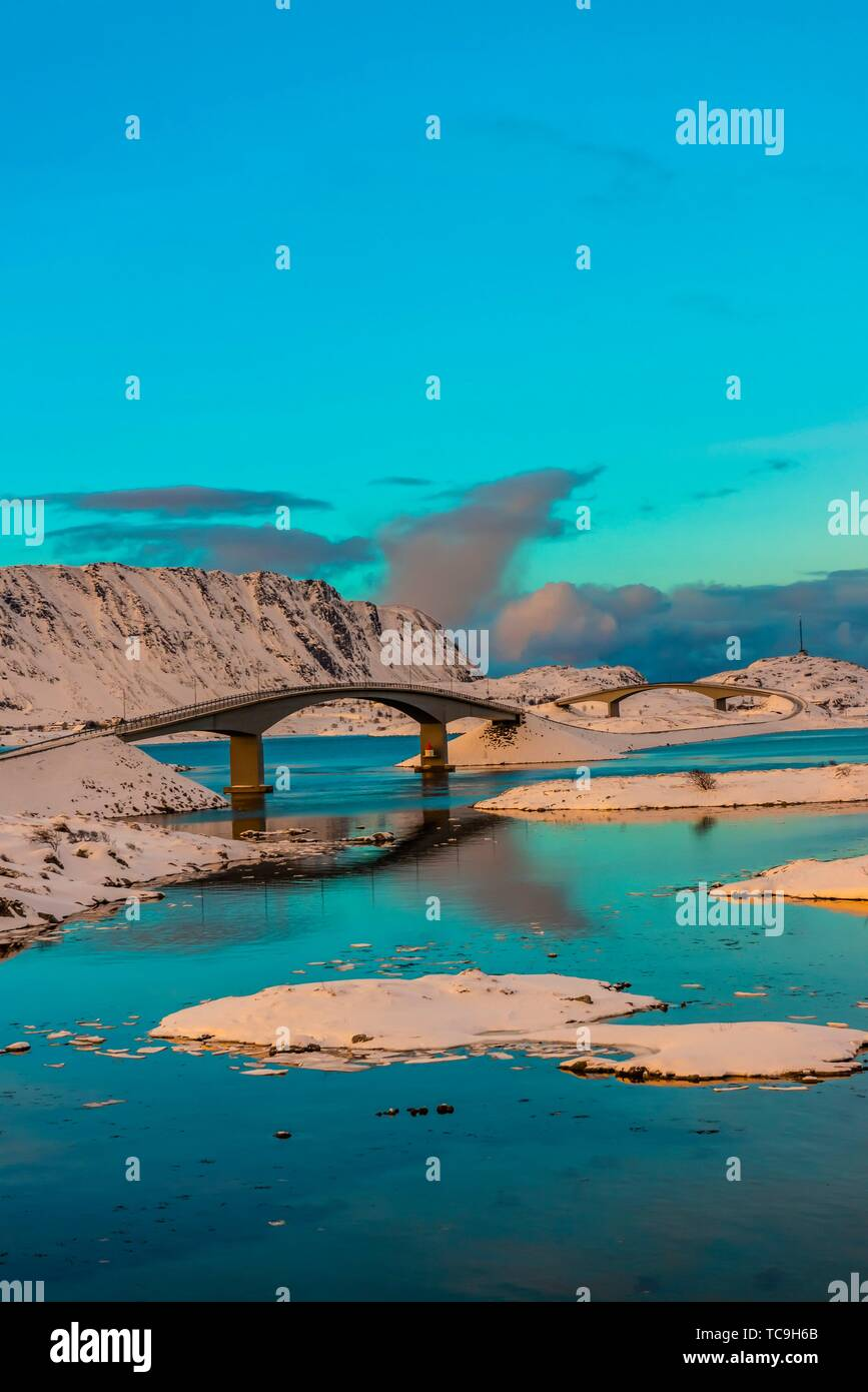 The Fredvang bridges linking the fishing village of Fredvang on Moskenesoya Island with the neighboring island of Flakstadoya, Nordland County, - Stock Image