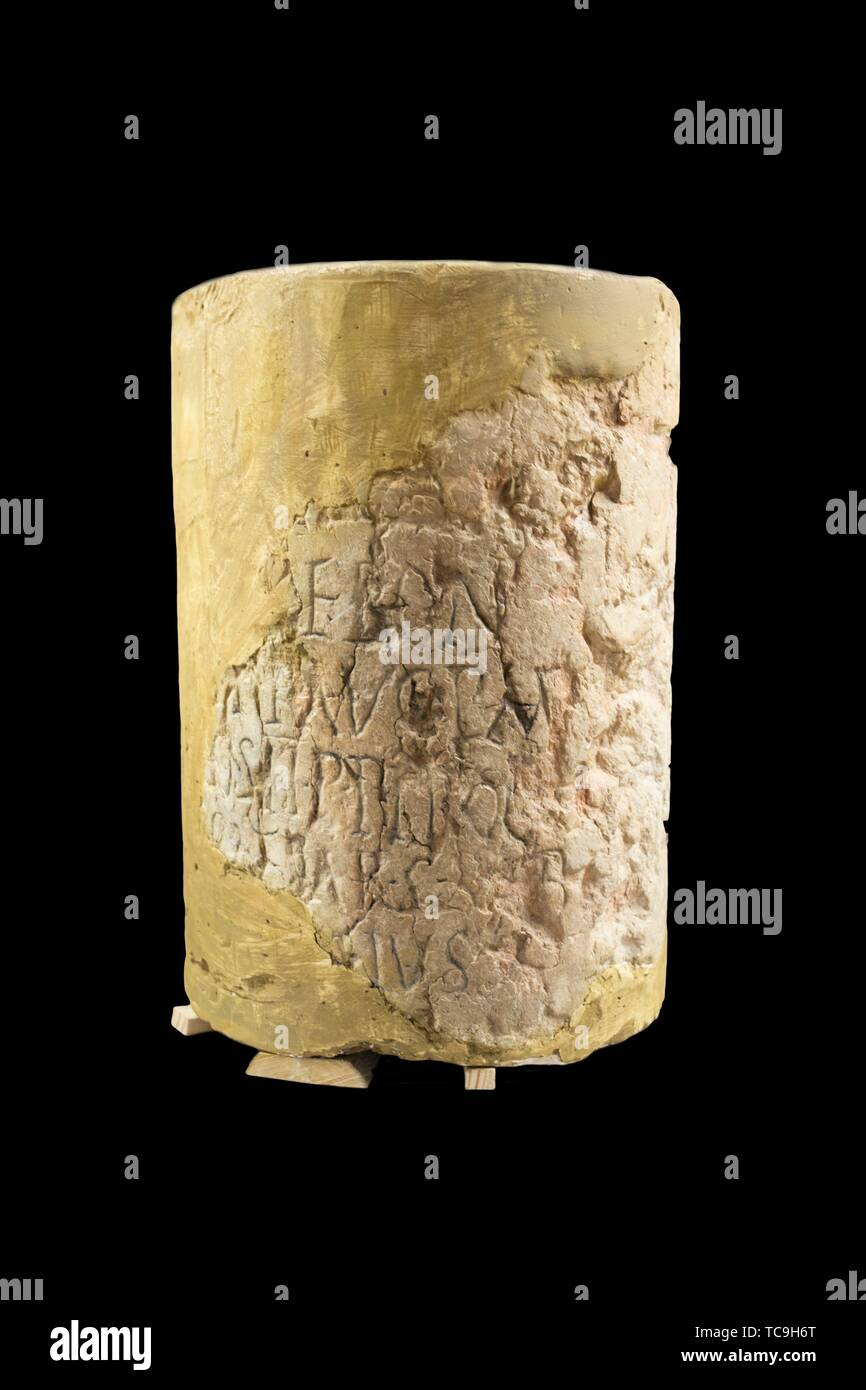 Montilla, Spain - March 2nd, 2019: Roman milestone or Miliarium. Montilla Museum, Cordoba, Spain. - Stock Image