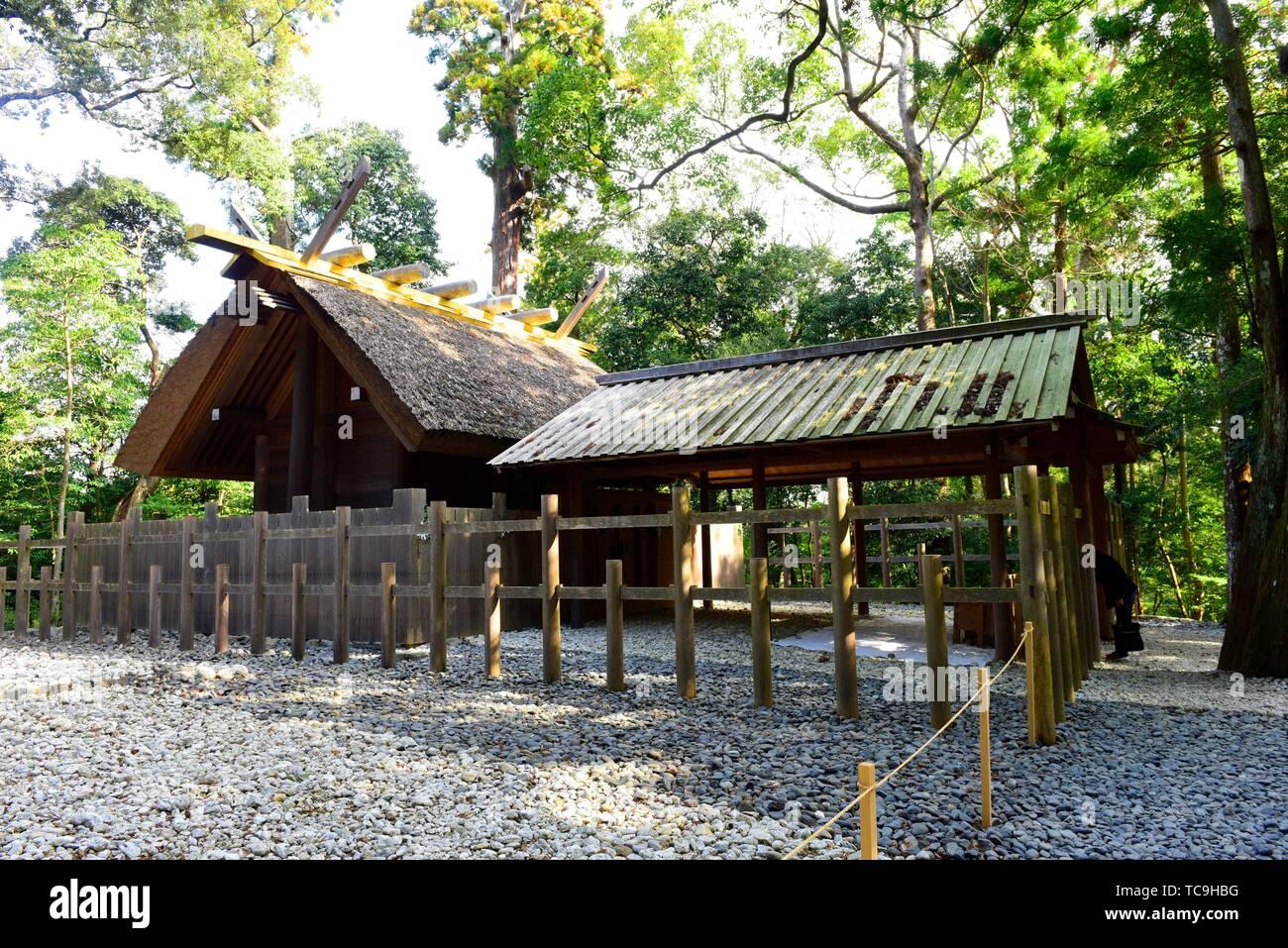 Kaze-no-miya subordinate shrine with oi-ya hut in Kodenchi area, Geku, Ise Jinju, Mie, Japan, Asia. - Stock Image