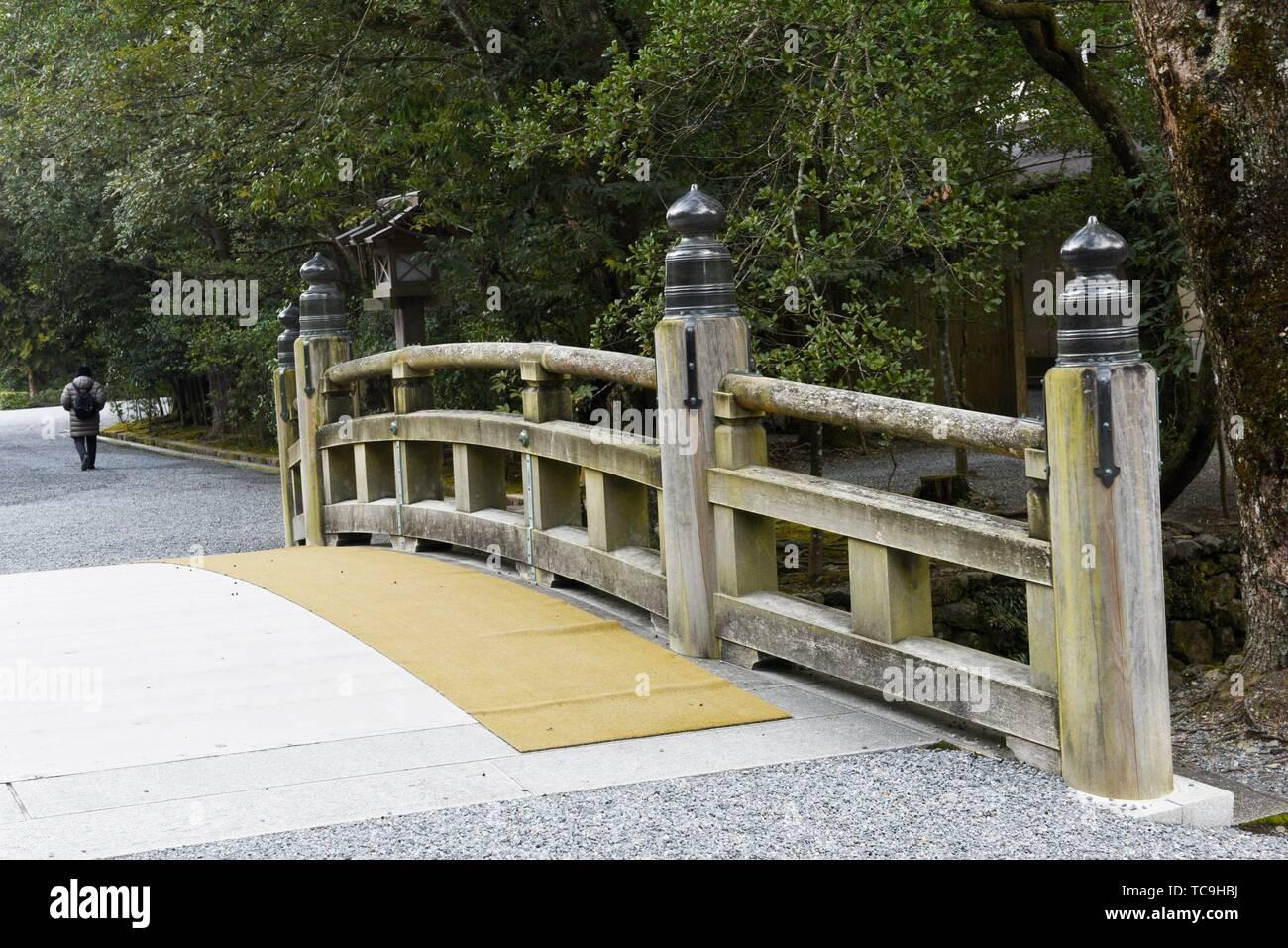 A bridge in Ise Jingu shrine, Japan, Asia. - Stock Image