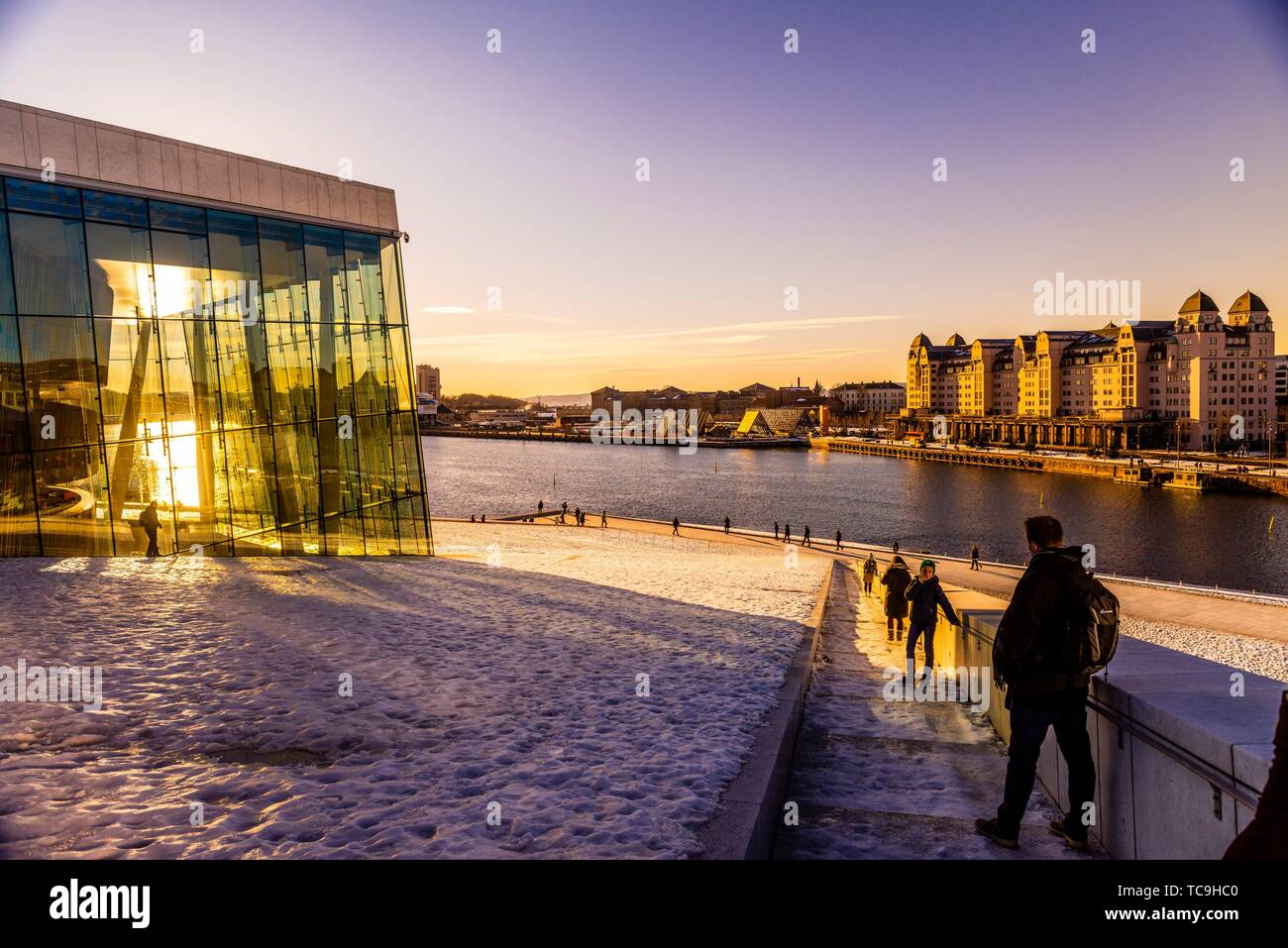 The Oslo Opera House, at the edge of the Oslo Fjord, built in 2008, Oslo, Norway. Stock Photo