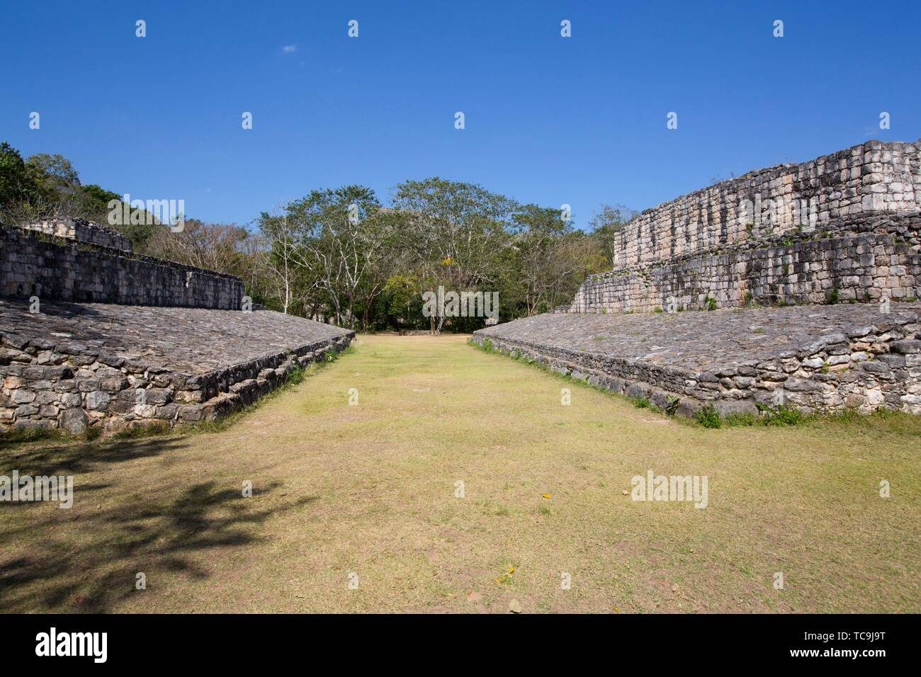 Ballcourt, Ek Balam, Yucatec-Mayan Archaeological Site, Yucatan, Mexico - Stock Image