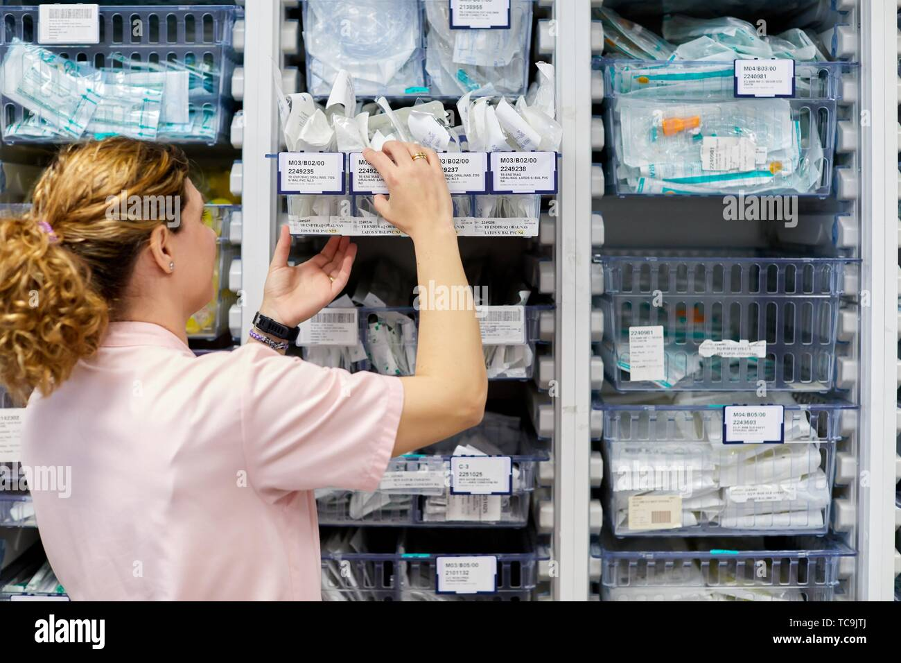 Pharmacy, Auxiliary with medical products, Delivery rooms, Hospital Donostia, San Sebastian, Gipuzkoa, Basque Country, Spain - Stock Image
