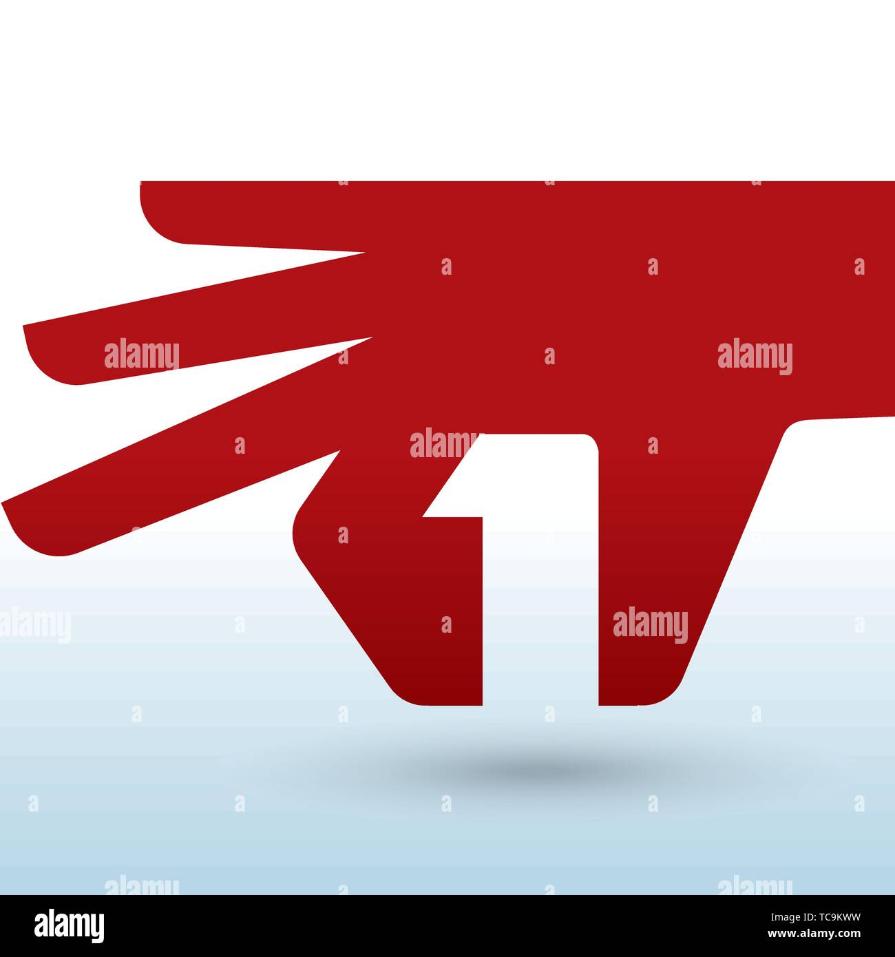 Vector illustration. Geometric hand icon with number one inside. - Stock Image