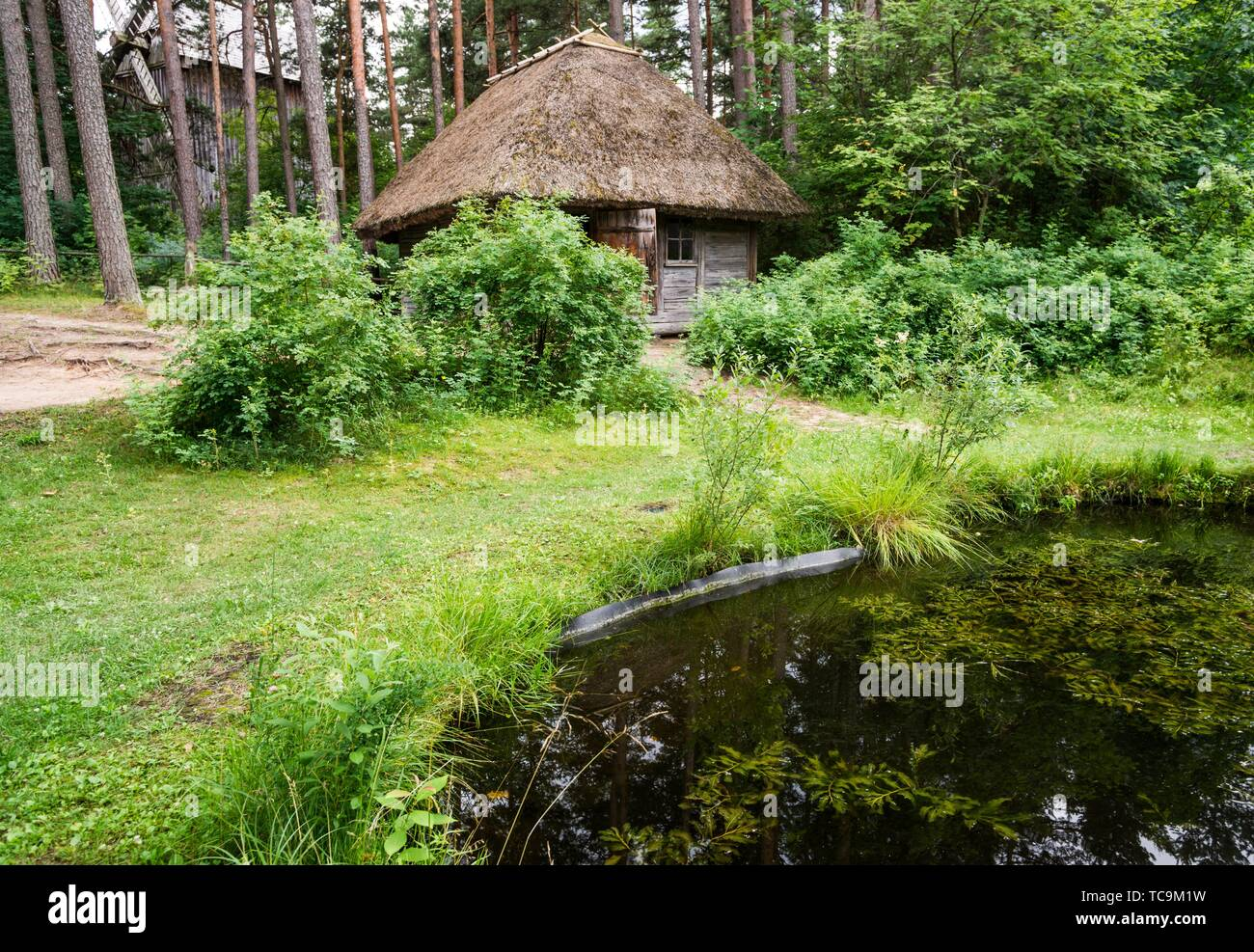 Traditional architecture of the provinces. Latvian Ethnographic Open-Air Museum. Riga, Latvia, Baltic States, Europe. - Stock Image