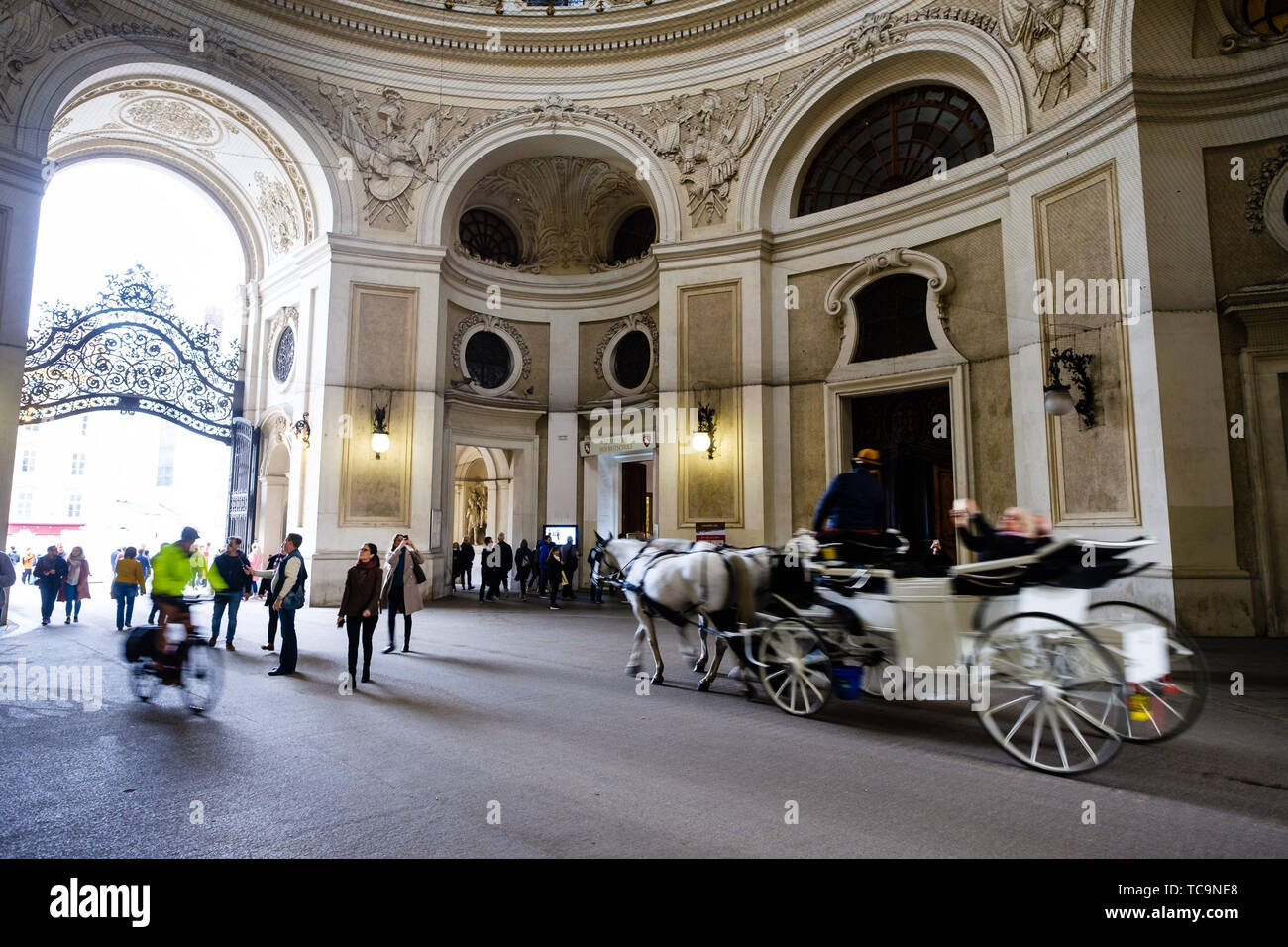 Tourists at The Hofburg on 03/11/2018 in Vienna. - Stock Image