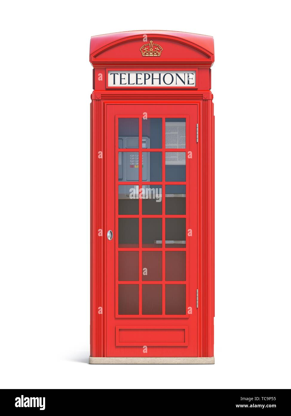 Red phone booth. London, british and english symbol. 3d illustration. - Stock Image