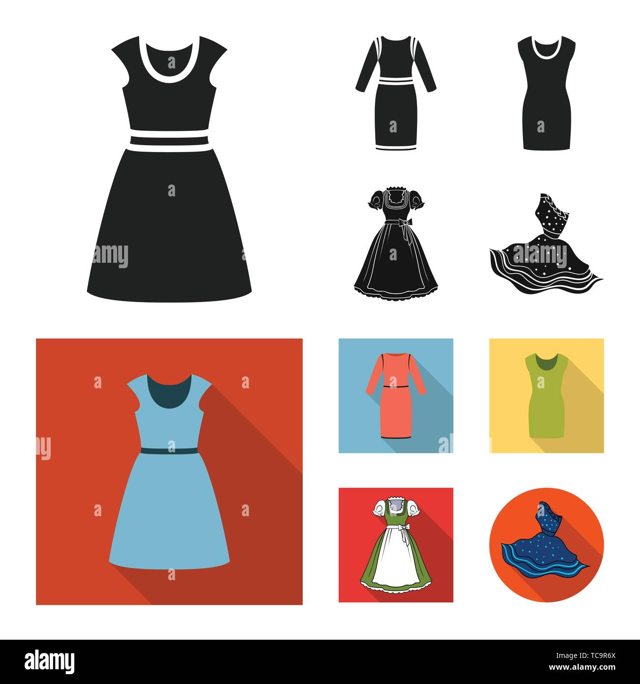 Isolated object of dress and clothes icon. Set of dress and evening stock symbol for web. - Stock Vector