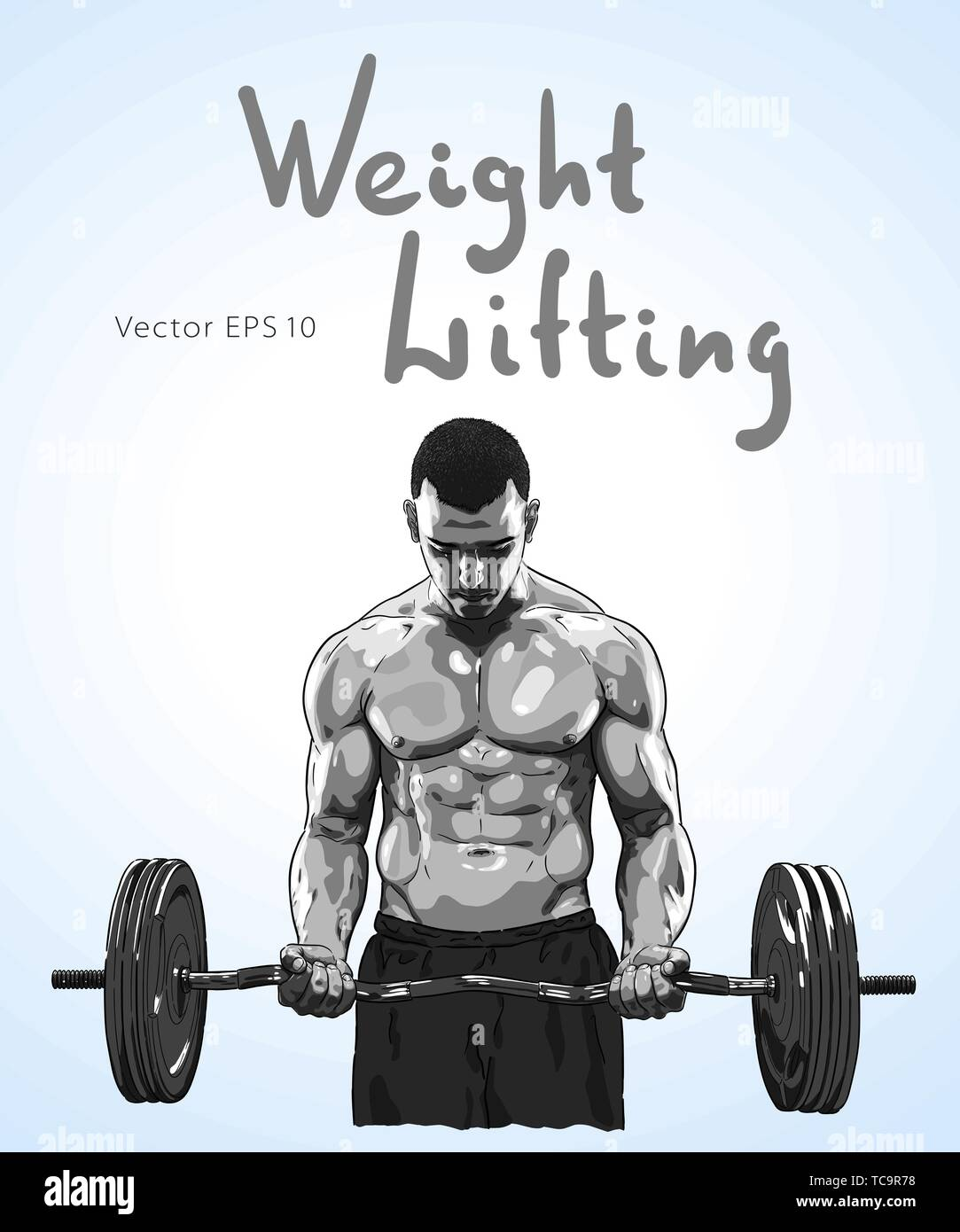 Weight Lifter man with relief muscles lifting heavy weight. - Stock Vector