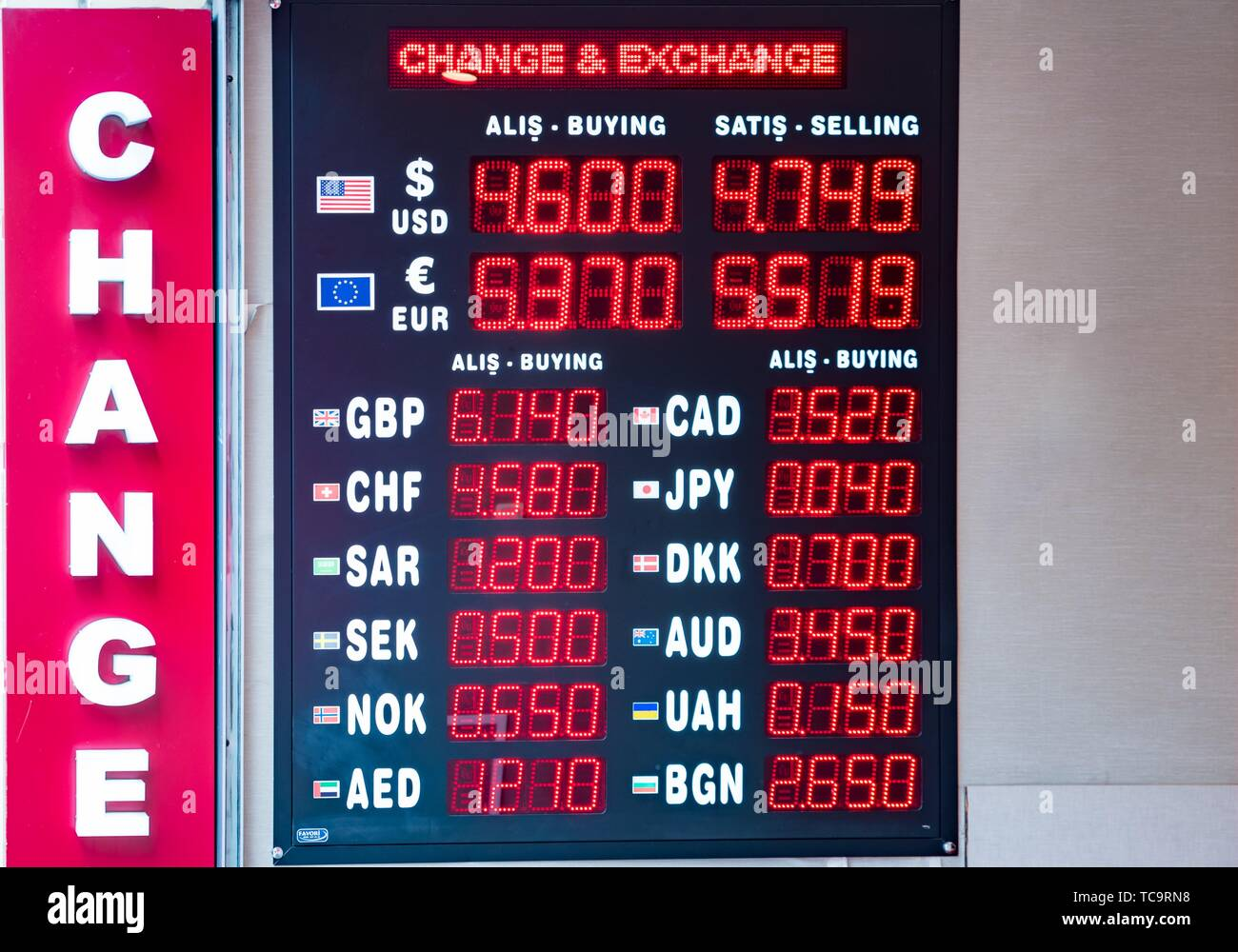 Turkish lira foreign exchange rates displays on a digital LED display board in Istanbul, Turkey,. - Stock Image