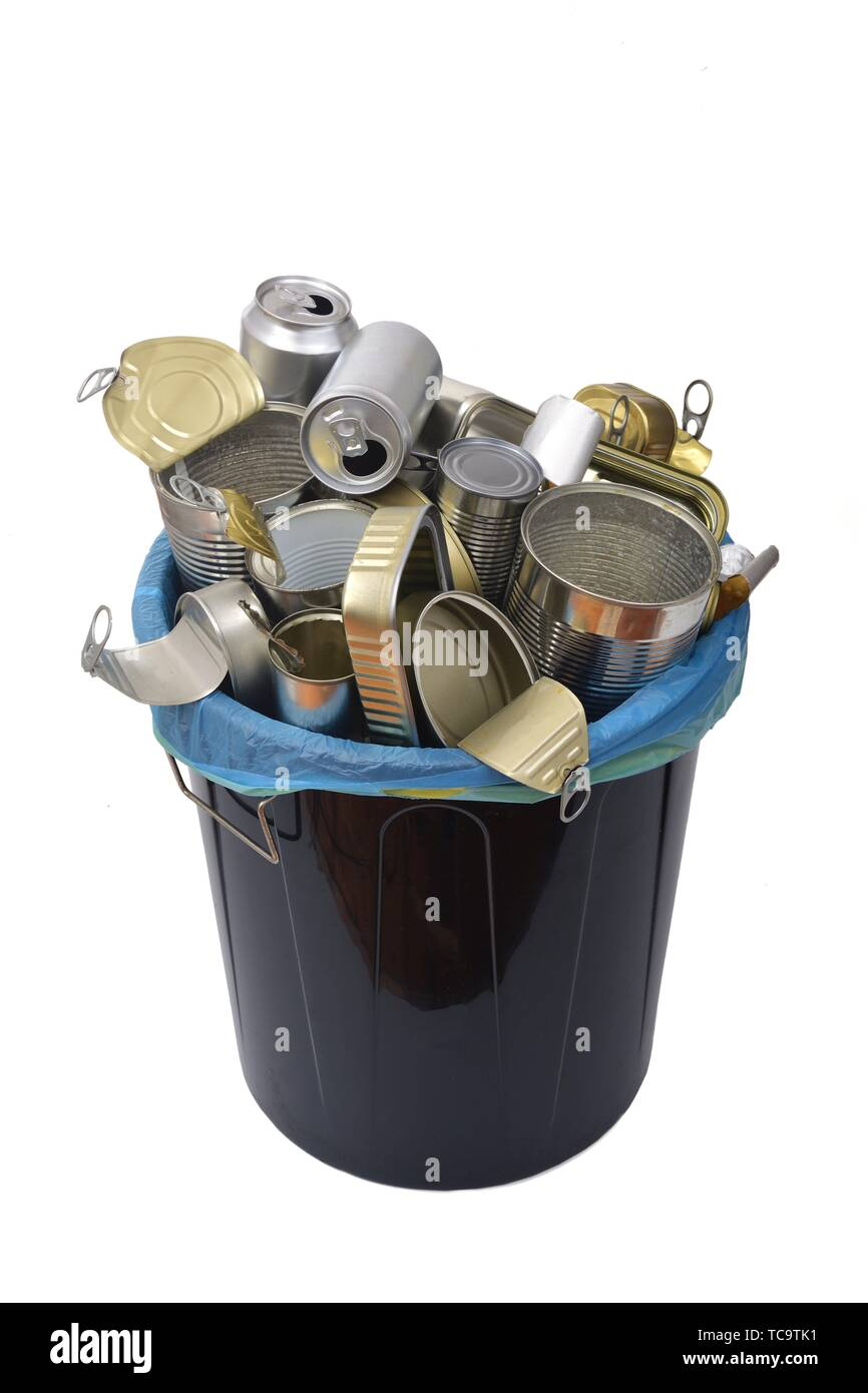 trash can (tin can food and drink) full of cans on white. - Stock Image