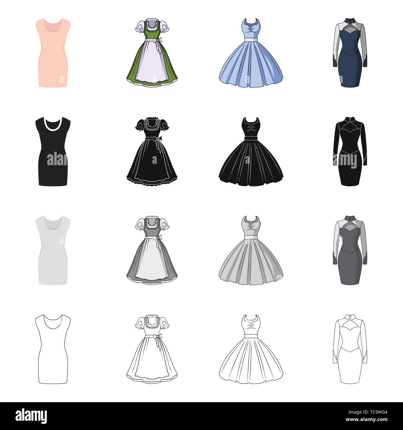 Vector design of dress and clothes icon. Set of dress and evening stock vector illustration. - Stock Vector