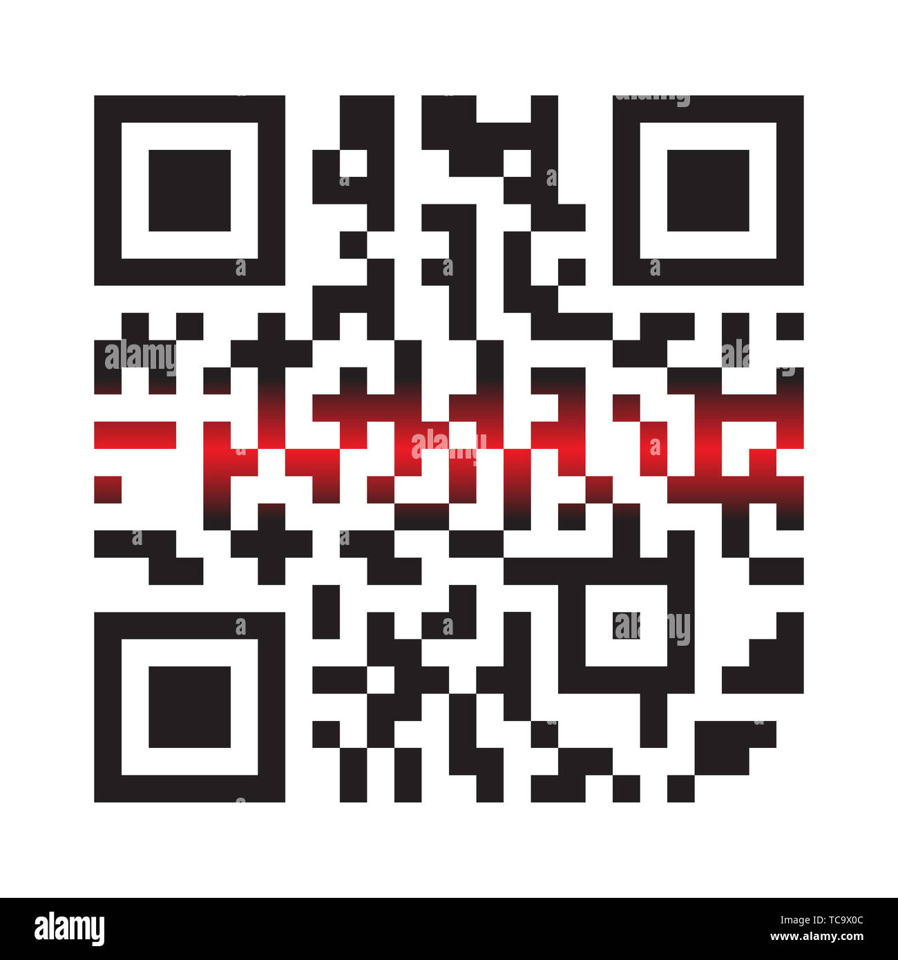 Modern Simple QR Code With Laser Light in Vector Illustration Isolated on White Background. Electronic, Digital Technology, Marketing, Internet Concep - Stock Image