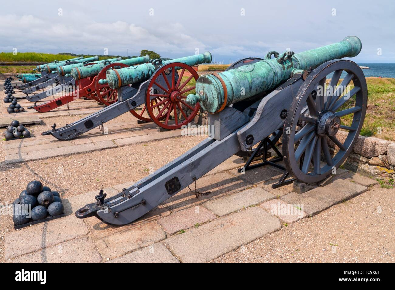Ancient battle cannons in Kronborg castle, Denmark. - Stock Image