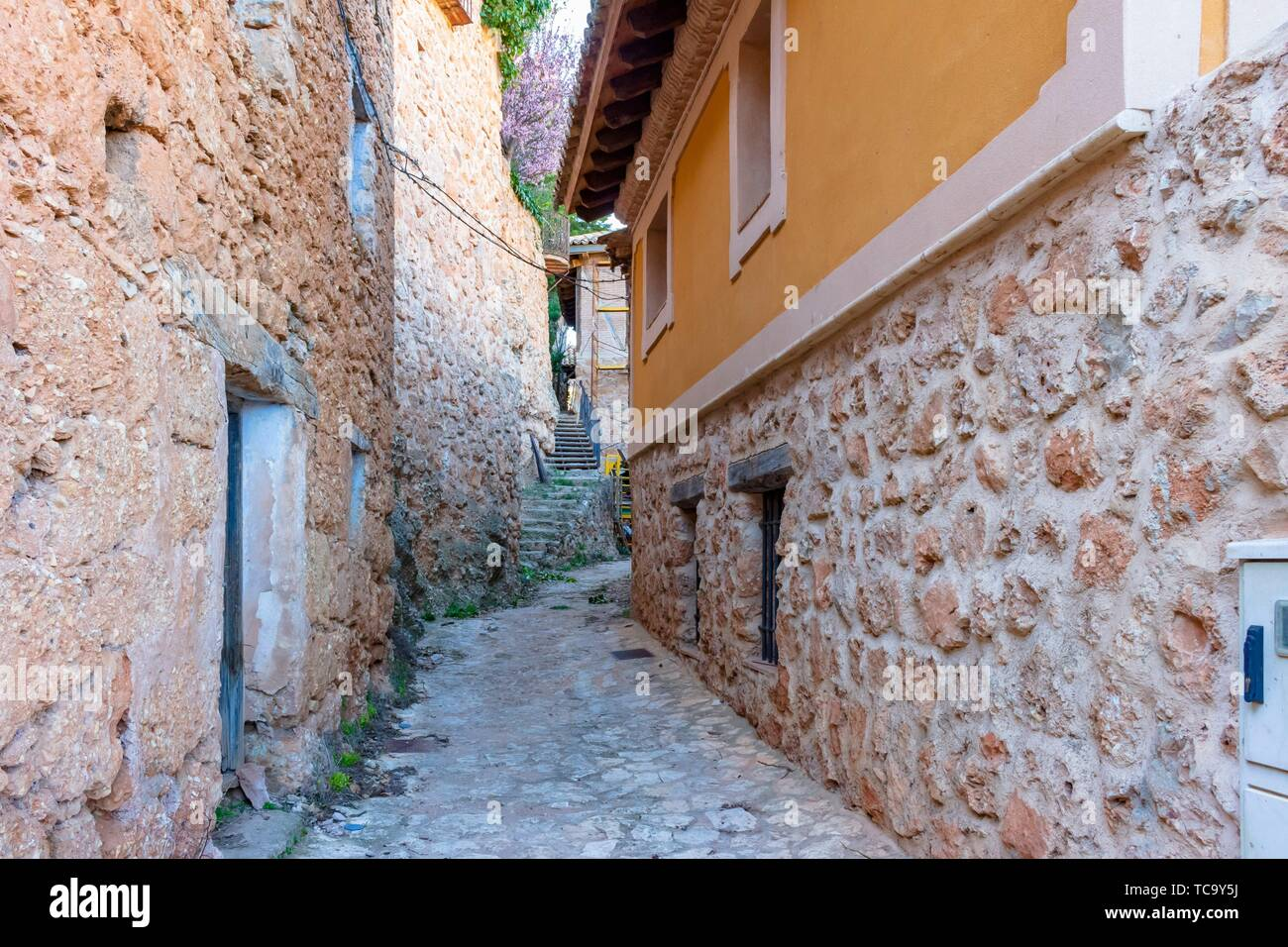 View of one of the streets of the historical core of Somaén. - Stock Image