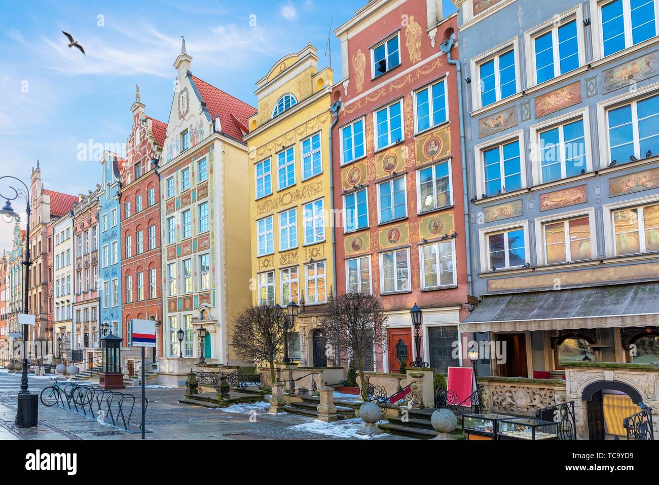 Colourful facades in Long Market in Gdansk, Poland. Stock Photo