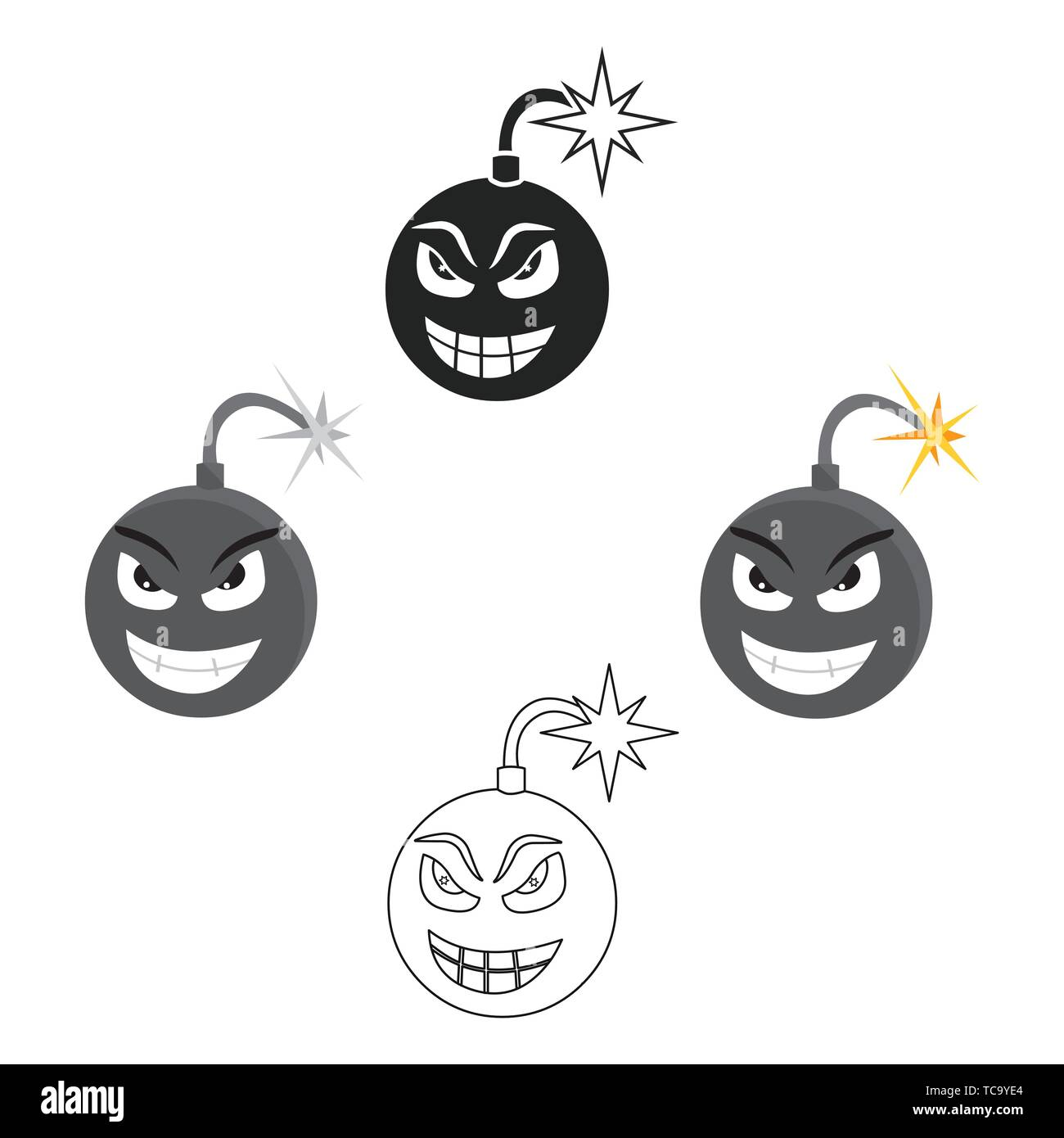 Bomb virus icon in cartoon,black style isolated on white background. Personal computer symbol vector illustration. - Stock Vector