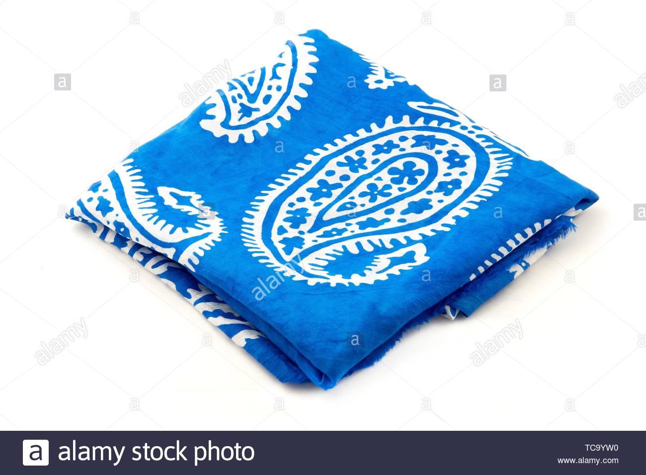 Azerbaijani blue Kelaghayi on a white background. - Stock Image
