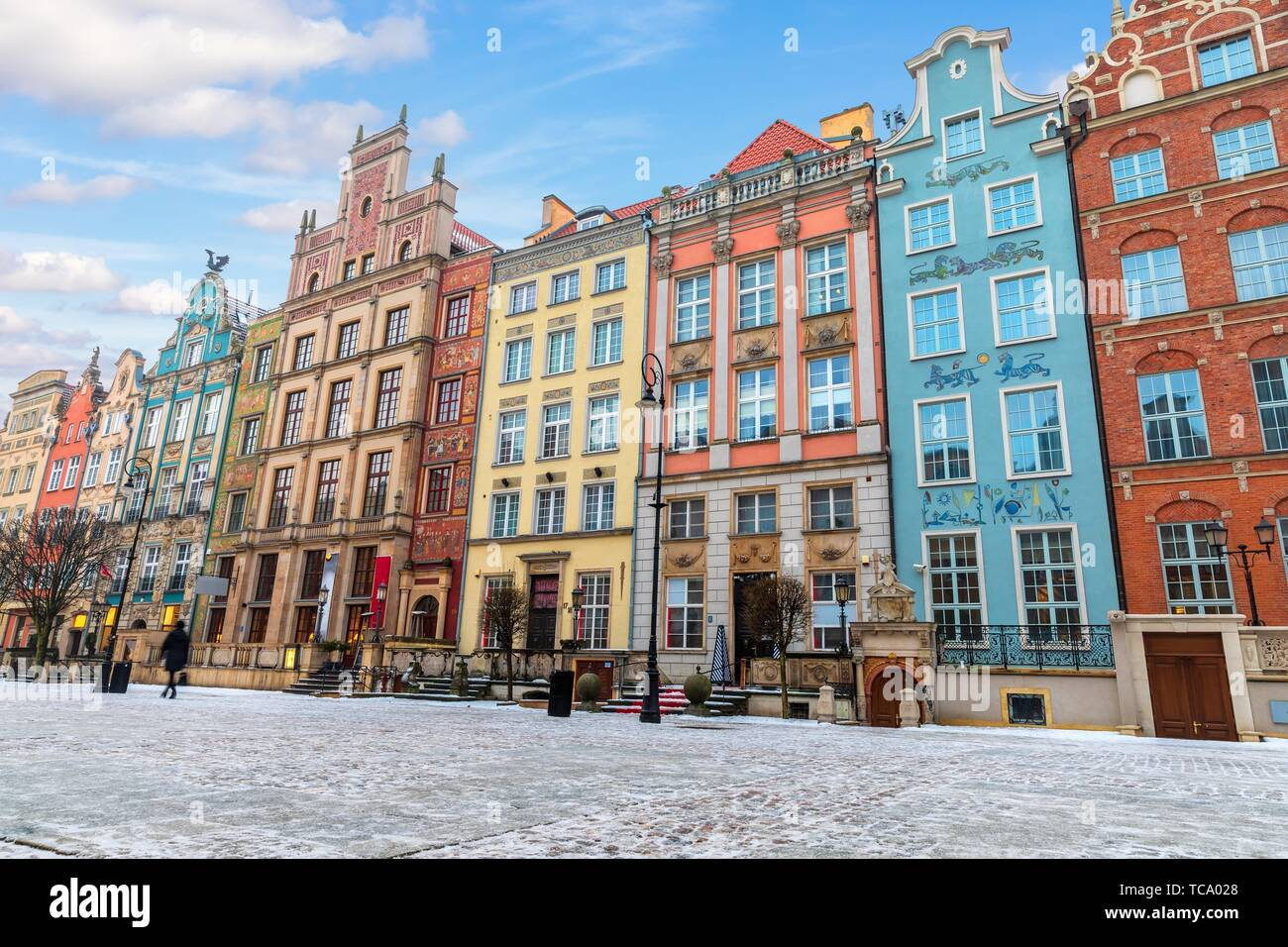 Colourful buildings in the european street of Gdansk, Long Market. Stock Photo