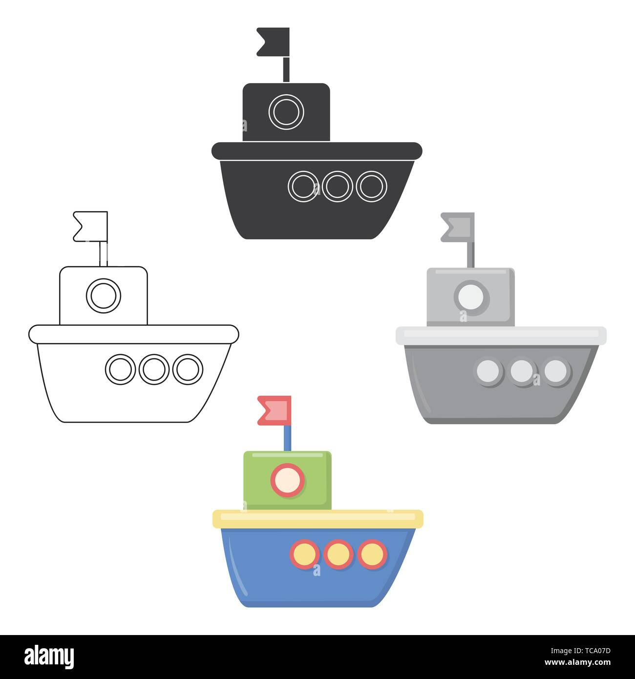 Ship cartoon,black icon. Illustration for web and mobile. - Stock Image