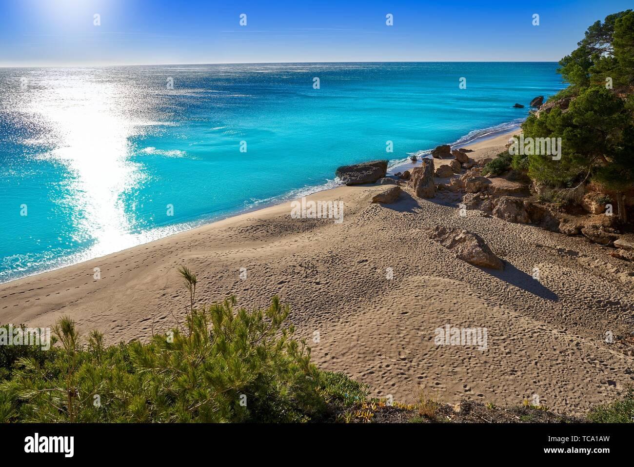 Cala Bot beach playa in Miami Platja of Tarragona at costa Dorada of Catalonia. - Stock Image