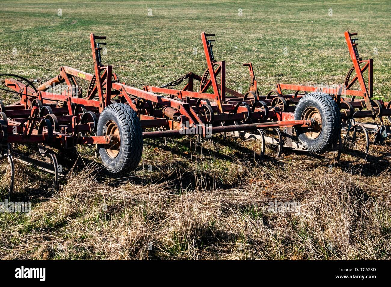 Tractor equipment on field in Sweden. - Stock Image