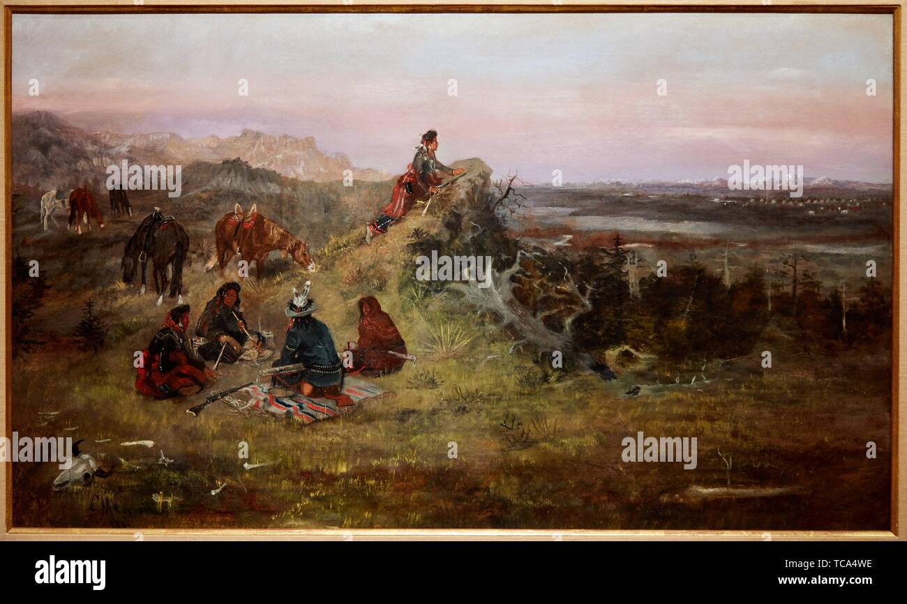 '''The Piegans preparing to steal Horses from the Crows'', 1888, Charles Marion Russell, Thyssen Bornemisza Museum, Madrid, Spain, Europe - Stock Image